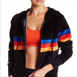 C & C California Velour Stripe Zip Hoodie Medium
